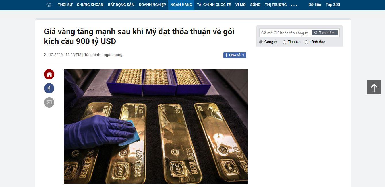 Gói kích thích số 2 của Hoa Kỹ là nguyên nhân chính khiến vàng tăng trong những ngày qua